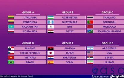 قرعه کشی جام جهانی فوتسال؛ تیم ملی فوتسال ایران با آرژانتین، آمریکا و صربستان همگروه شد